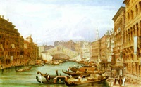 the grand canal - bridge of the rialto, venice by joseph josiah dodd