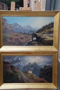 deux paysages des alpes by emile godchaux