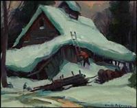winter scene by emile albert gruppe