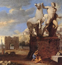 a capriccio of the forum romanum, with the sculpture groups of alexander, bucephalus and cain and abel by thomas blanchet