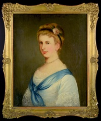 portrait of a lady in blue dress by friedrich krepp