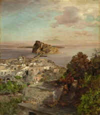 view over sant'angelo (ischia) to the castello aragonese, in the background mount vesuvius by oswald achenbach