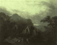 ruins in a landscape by j.w. anderson