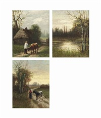 a peasant with a cow near a wooden shed; and a wooded landscape at sunset with a peasant woman and a cow; a wooded landscape with a pond (3 works) by william frederick hulk
