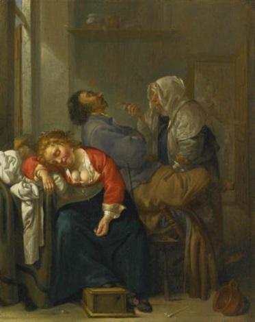 tickled sleep bordello scene with sleeping couple by jacob duck