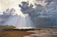 after a shower - seacale cumberland coast by cuthbert rigby arws