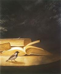 a bird near books by moni leibovitch