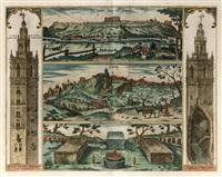 la giralda de sevilla y vistas de san juan de aznalfarache y gerena by joris (george) hoefnagel