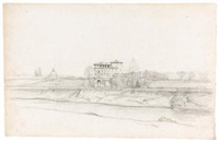 panoramic view of rome with the dome of st. peter's in the distance (+ st. peter's, rome, smllr; 2 works) by jean achille bénouville