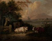 environs de rouen avec au loin le mont gargan, vaches au premier plan by george vincent