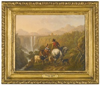 a gentleman on horseback and a shepherdess by a torrent by charles towne
