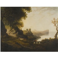 a view of oystermouth, wales by william (of plymouth) williams
