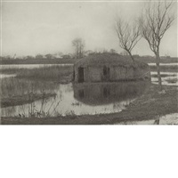 a reed boat-house; the misty river (2 works) by peter henry emerson