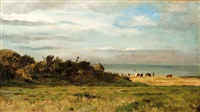 paysage côtier aux vaches by louis marie lemaire