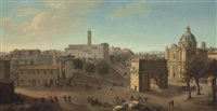 a view of the forum, rome, with the arch of titus and the church of saints luke and martina, with carriages and elegantly dressed figures on horseback by giacomo van (monsù studio) lint
