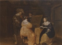 a musical party in an interior by michiel d. van limborch