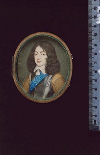 king charles ii of england, wearing the blue sash of the garter, his silver armour breastplate over ochre doublet, the sleeves embroidered, white lawn collar with tassel fastening by david des granges