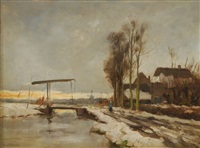 paysage avec petit pont sous la neige by louis pierre verwee