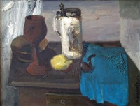 still life with a pipe-stem 1984, oil on canvas, 54x70 cm 480 eur by robert muzis