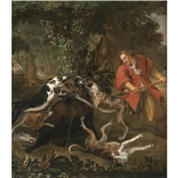a huntsmen and dogs attacking a wild boar by frans snijders