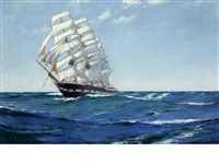 bound for the west - east india clipper ship waimate by montague dawson