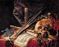 a vanitas still life with a viol, a clarinet, a skull, sheet music and a candle by simon renard de saint-andre