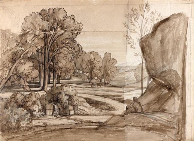paysage animé néoclassique : berger à la fontaine dans un paysage avec un temple (+ esquisse d'un arbre, study, verso; in 4 parts) by nicolas louis cabat