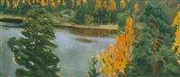 lake view in autumn by akseli valdemar gallen-kallela