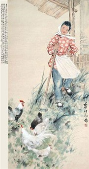 饲鸡图 by li zhongyun