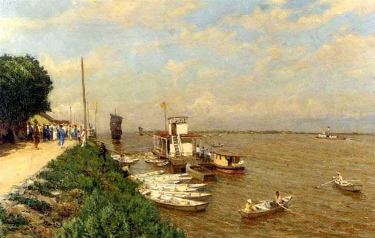 eastern riverscape by serguei ivanovitch lobanoff