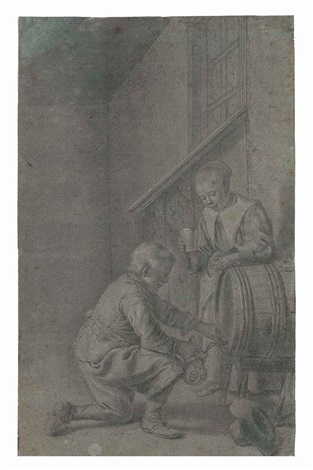 a boy and girl drawing wine from a barrel by pieter cornelisz van slingeland