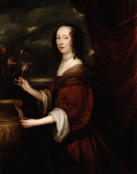 portrait of lady ingleby standing beside an urn of tulips, wearing a brown dress and a pearl necklace by john hayls