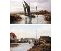 potter heigham bridge; wherries on the broads (a pair) by percy lionel
