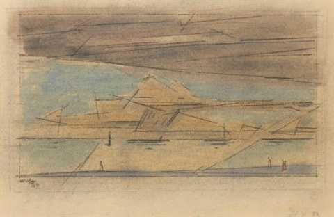 seelandschaft mit wolke seascape with cloud by lyonel feininger