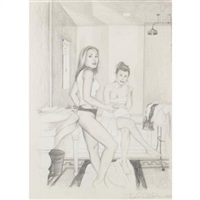 getting hung up at a collector's house en route to the museum (leisa and me sitting on the edge of the bathtub) by delia brown