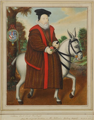 william cecil lord burghley assis sur son âne by george perfect harding
