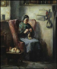 woman knitting by henry john dobson