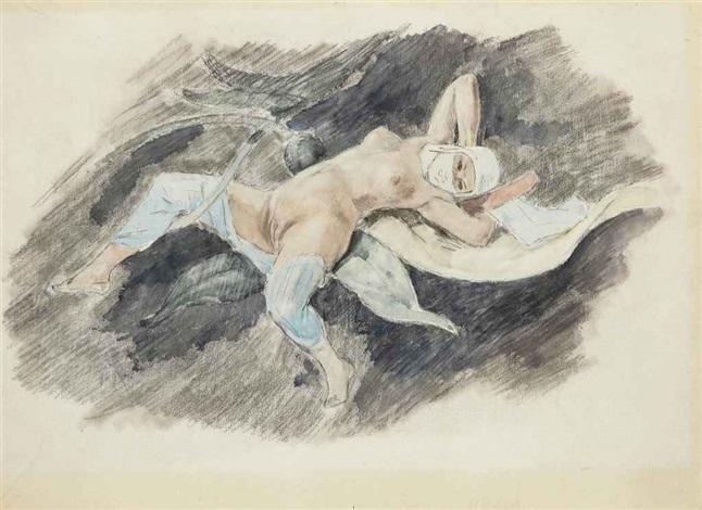 femme allongée study by félicien joseph victor rops