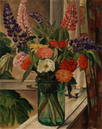 still life with bouquet in a window by gerrit willem van ijperen