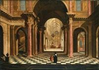 two figures in a classical church interior by wilhelm schubert van ehrenberg