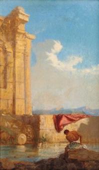 homme devant des ruines by camille rogier