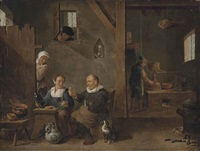 a gin distillery with an elderly man buying gin from a woman by david teniers the younger