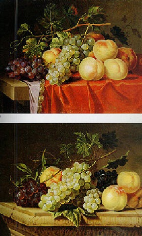 still life of grapes and peaches on a draped table by paul liegeois