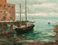 low tide in harbour by paul barnard earle