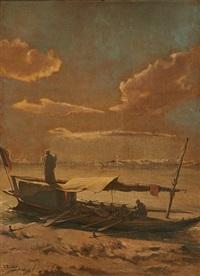 felouque au coucher du soleil by jean françois portaëls