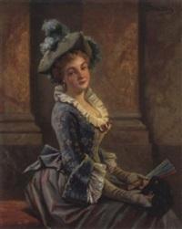 junge dame mit fächer in der hand by joseph watter