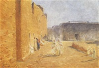 rue animée à sidi-okba (algérie) by ernst baillet