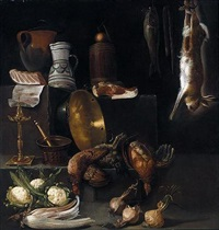 a kitchen still life with chickens, hare, fish, onions, cauliflower, a cardoon and various kitchen utensils by alessandro de loarte