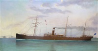 the steam ship s.s. warrnambool passing dover strait by charles keith miller