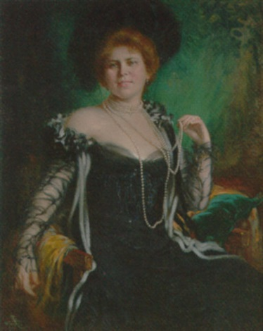 portrait of a lady in a black dress with a plumed hat by rudolf wimmer